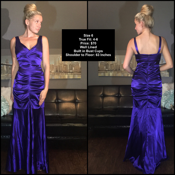 Xscape Dresses | Royal Blue Ruching Mermaid Evening Gown | Poshmark